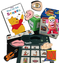 collage of items for teaching senses
